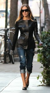 Sarah+Jessica+Parker+Outerwear+Leather+Jacket+sbNU6_8WFkel